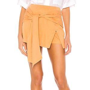 L'Academie Tilda Tie Front Mini Skort Copper Tan